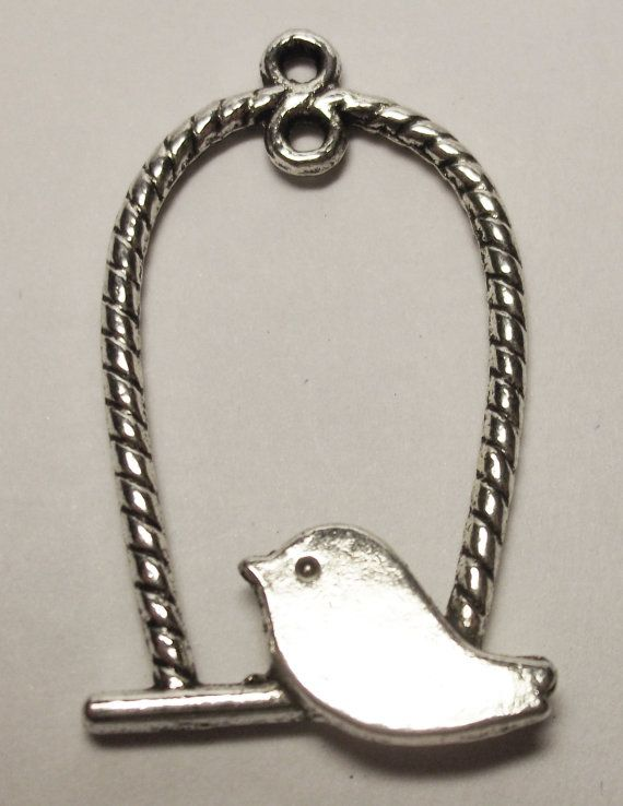 CLEARANCE antique silver bird in swing charm by rabbitssupplies