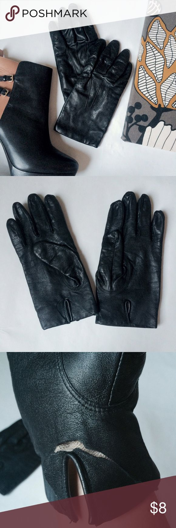 Womens black leather gloves medium - Black Leather Gloves Has Tear Inner Wrist