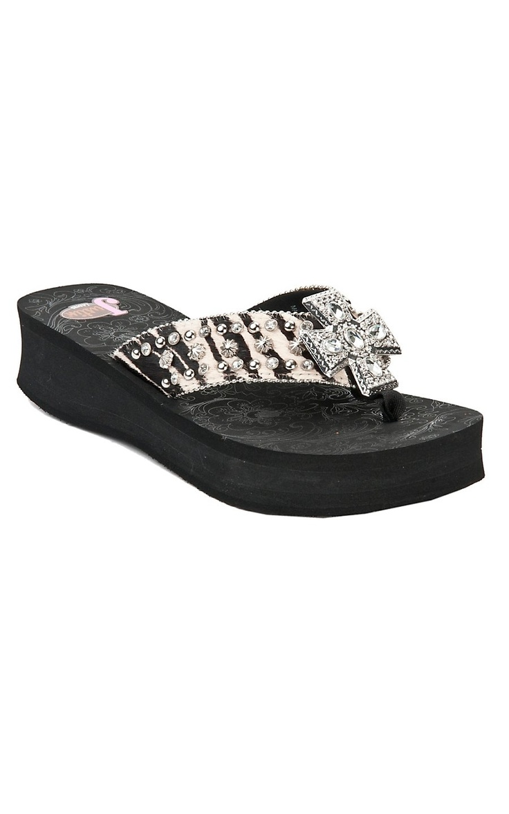 Justin® Randi™ Ladies Black & Zebra Print w/ Cross Concho Jeweled Flip-Flop by M® | Cavender's Boot City