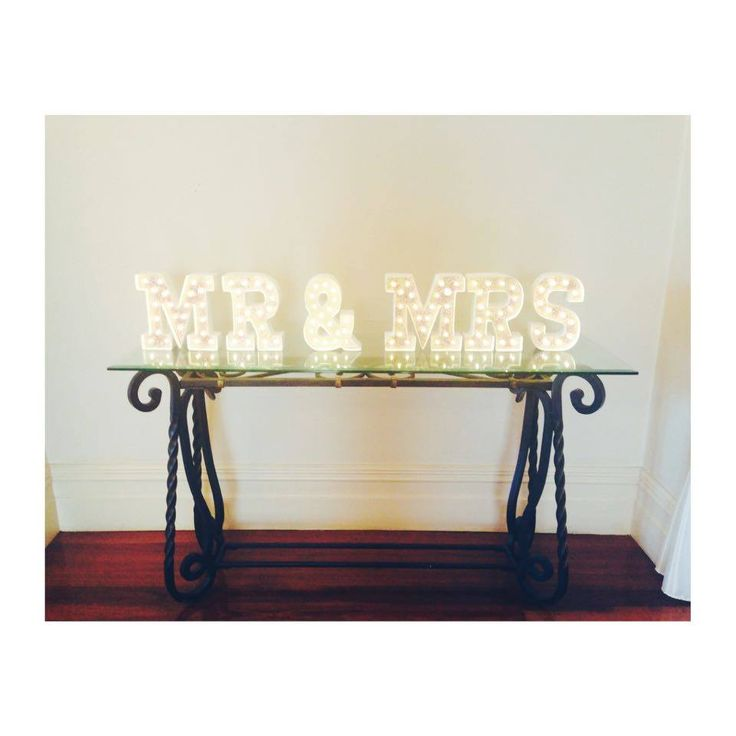 Mr and Mrs light up signs at the top of the Regency stairs | Eschol Park House