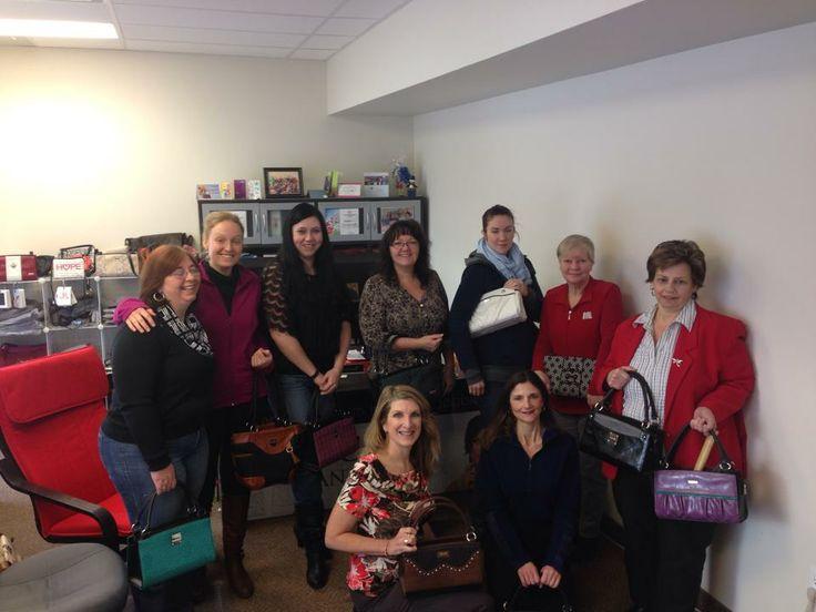 Miche Canada Head Office Ladies showing their Miche Love! #miche #michefashion #fashion #style #purses #handbags #accessories