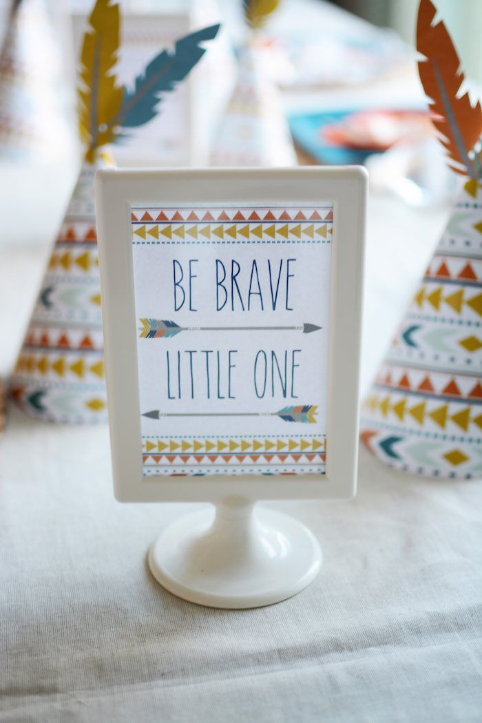 Tribal Little Brave Man Themed Baby Shower | Kara's Party Ideas