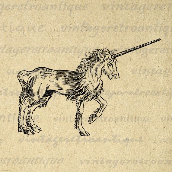 Printable Digital Mythical Unicorn Graphic by VintageRetroAntique