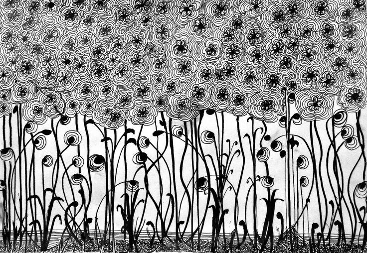 Lomen Art - Doodle. Pen and Ink.  Black and White.
