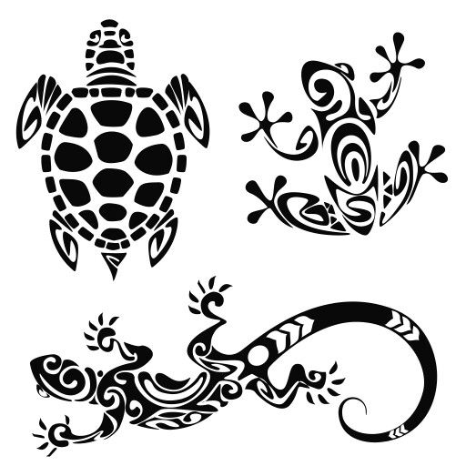 tribal designs- turtle, frog, lizard                                                                                                                                                                                 More