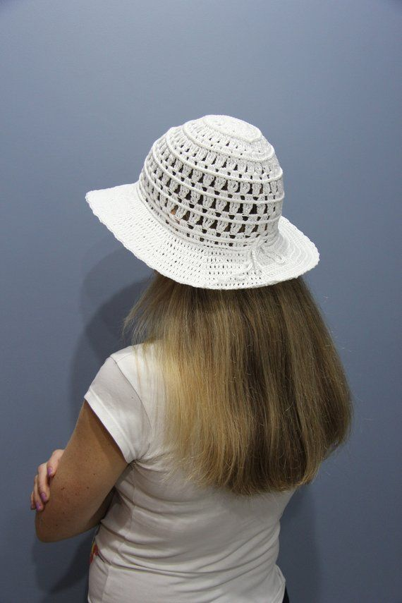 4fa66026 Crochet beach hat women wide brim Beach hat bride Sun hat white Summer hat  womens Cotton hat Women's