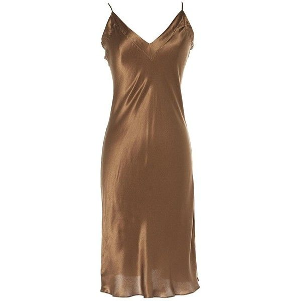 Pre-owned Lanvin Silk Mid-Length Dress ($319) ❤ liked on Polyvore featuring dresses, brown, women clothing dresses, lanvin dress, brown dress, silk cocktail dress, preowned dresses and lanvin cocktail dress