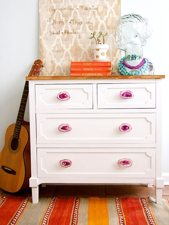 Upgrade your dresser with DIY agate knobs.