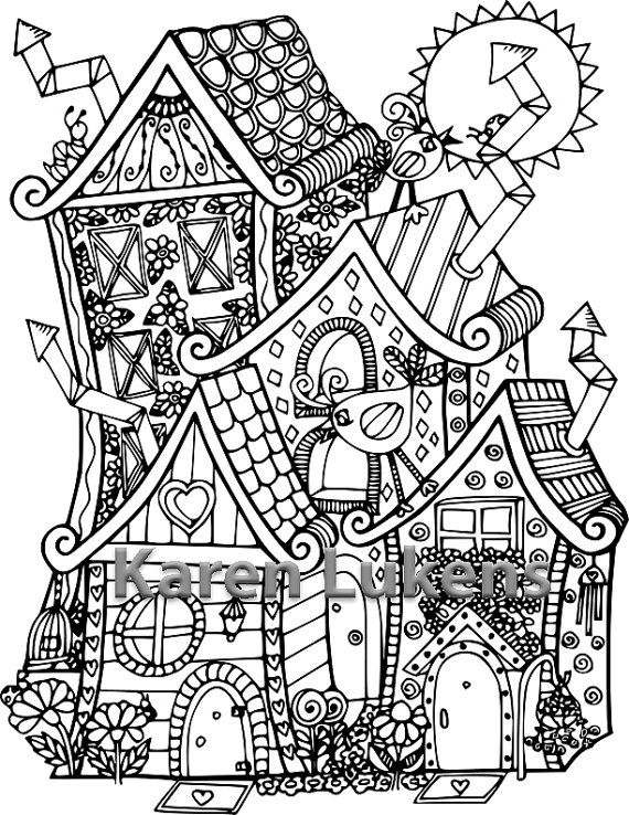 Happyville Townhouses Adult Coloring Book Page