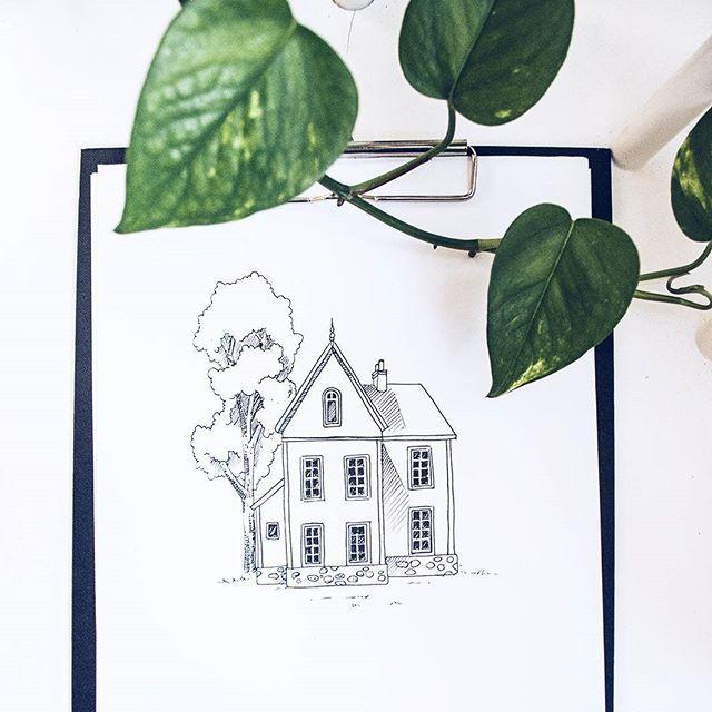By Elin Östberg A piece I made this morning #sketch #teckning #sketchbook #skiss #målning #teckna #doodle #drawing #fineliner #ink #cottage #print #illustration