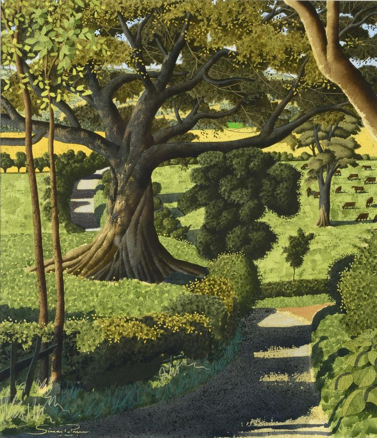 """Descending from Toplane"" by Simon Palmer, English Artist .... Ink, Watercolour & Gouache ...."