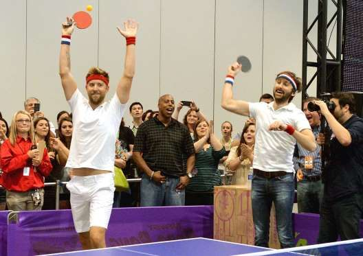 Charles Kelley and Dave Haywood of Lady Antebellum compete in Ping Pong & Songs during the CMA Fest - Rick Diamond/WireImage
