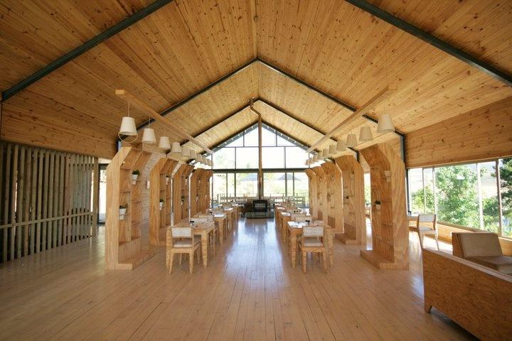 Retro indoor restaurant.