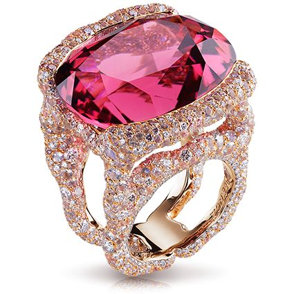 Katharina Rose Ring - Faberge (Tourmaline, diamonds and moonstone)