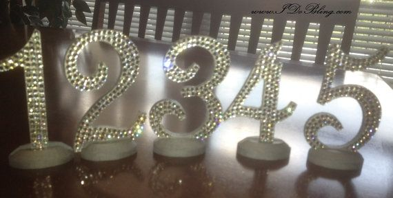 Bling Crystal Rhinestone Wedding Reception Birthday Party Table Numbers