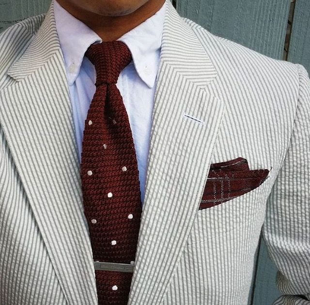 Seersucker jacket, white OCBD, dark red knit tie