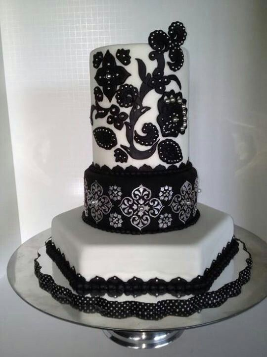 Moroccan Inspired Cake Black Silver And White Stenciled And Appliqued Celebration Cake