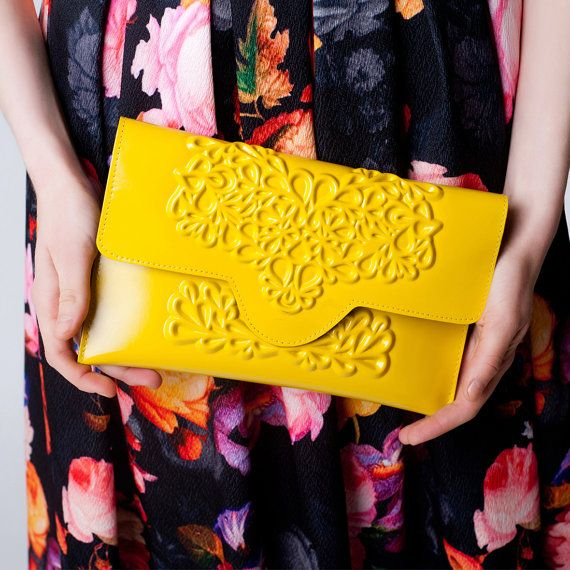 Envelope clutch bag / yellow clutch purse / standout by MeDusaBags