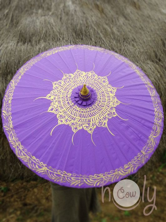 Hand Painted Purple Parasol Purple Umbrella by HolyCowproducts