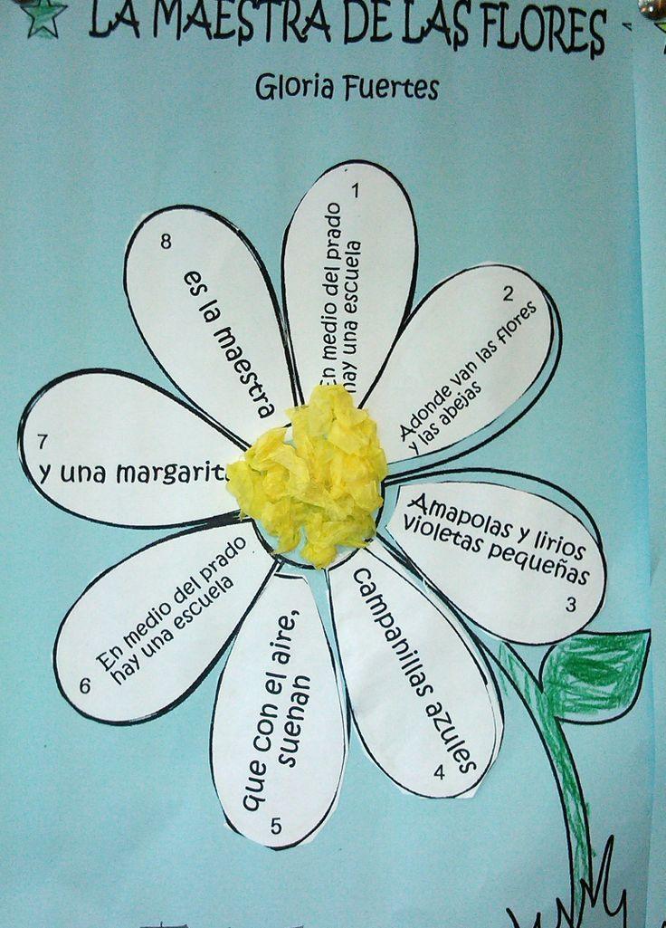Poema de Gloria Fuertes. Un verso en cada pétalo. El polen está hecho con bolas de papel de seda.