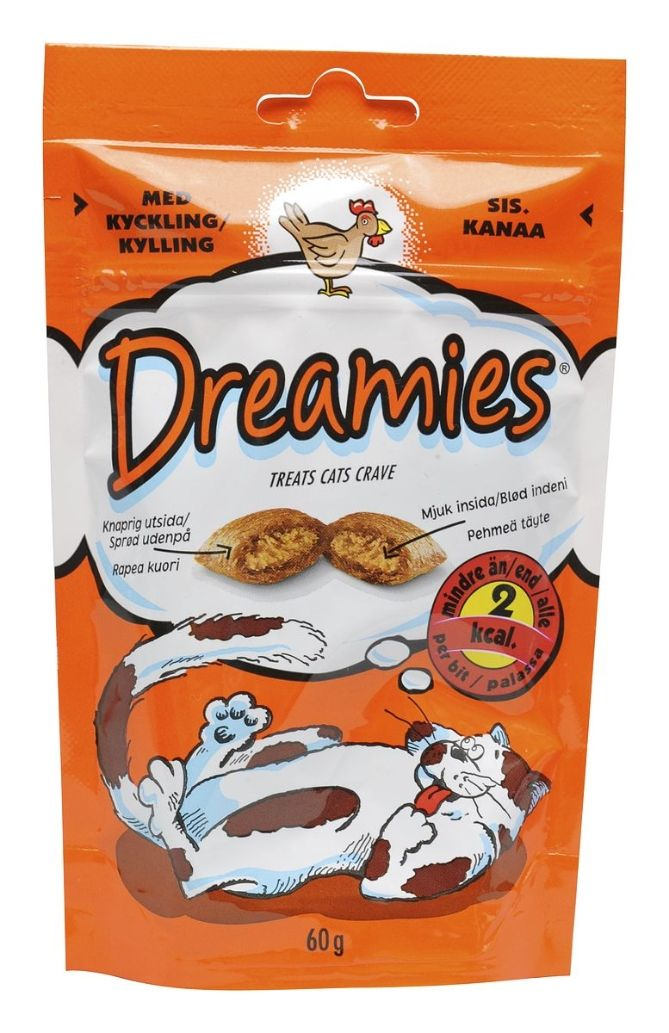 Dreamies Kana 60 g - Kissan kuivamuona (1.39€ toknet.fi) muutkin kissojen herkut käy. kunhan ei maksaa.