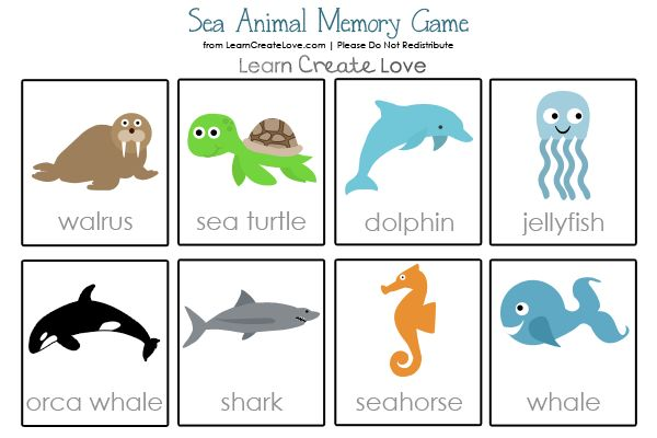 Free Printable Memory Game: Sea Animal Theme from http://learncreatelove.com