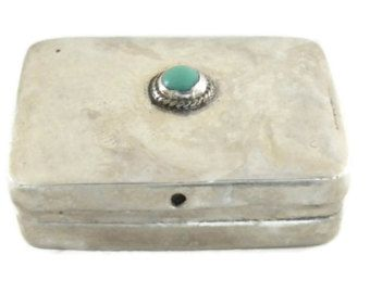 Sterling Silver Pill Box with Turquoise Stone Navajo Design