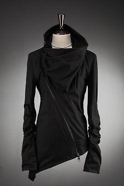www.BytheR.co.kr black jersey cowl zipper jacket