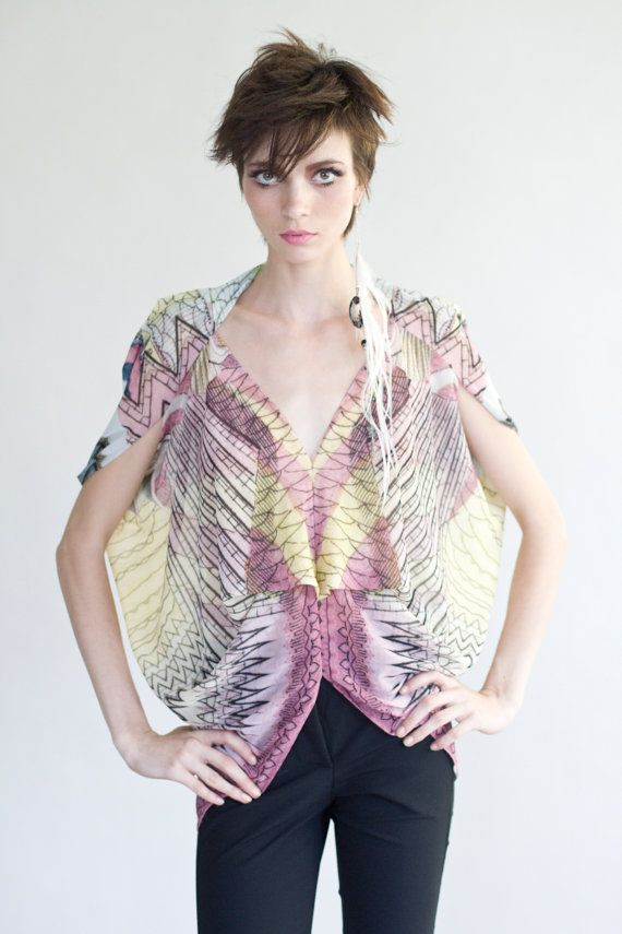 Printed Chiffon Top by YosefPerez on Etsy, $175.00: Chiffon Blouses, Patterns Design, Chiffon Tops, Chiffon Prints, Cute Tops, Surface Pattern, Clothing Surface, Design Clothing, Prints Chiffon