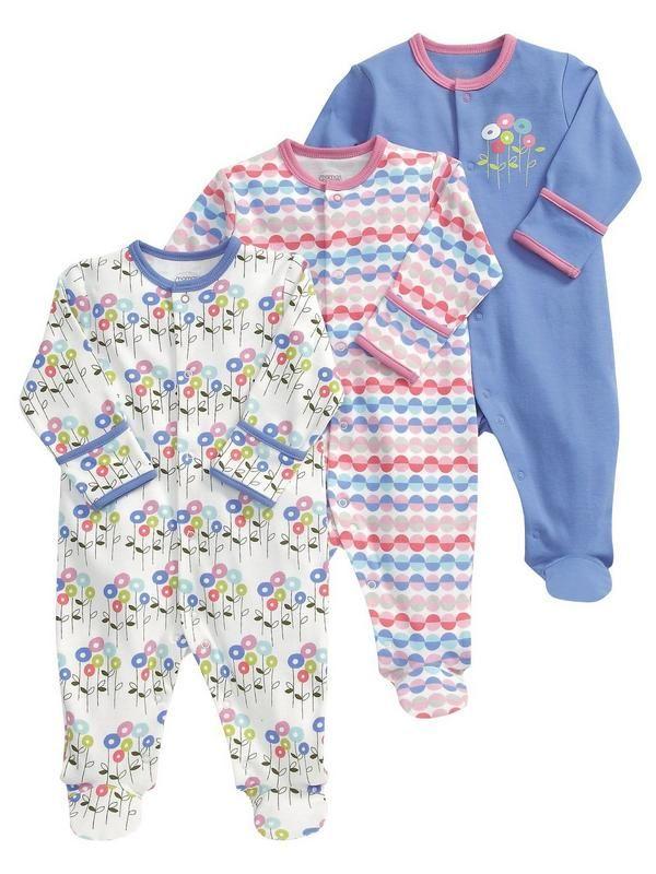Mamas & Papas Flower Sleepsuits (3 pack)   littlewoods.com