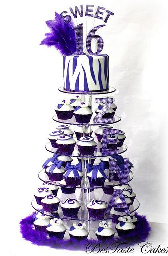 Sweet 16 zebra cupcake tower