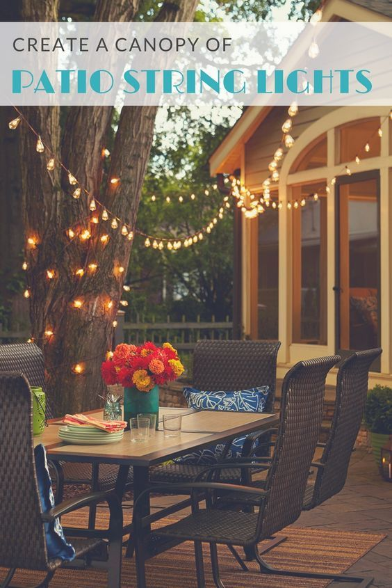 Elevate your deck or patio with a canopy of string lights. Everyday moments feel extra special outdoors beneath twinkle lights.
