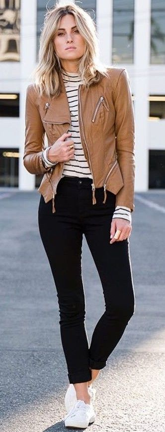 #fall #trending #outfits | Camel Leather + Stripes + Black and White