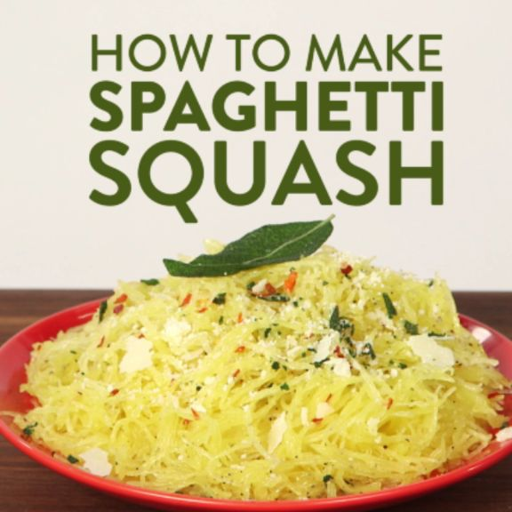 """Never worked with spaghetti squash before? Don't even be a little afraid: cooking with one is more intuitive than you'd think. And with a texture reminiscent of pasta, this vegetable is the perfect vehicle for a light olive oil and cheese dressing or any traditional pasta sauce. Watch the video to enjoy a """"spaghetti"""" dish that's nutritious, wholesome, and gluten-free."""