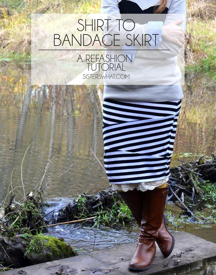 Shirt to Bandage Skirt Refashion