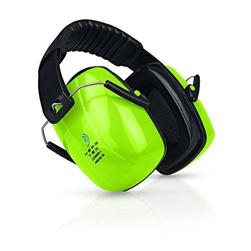HearTek Earmuffs Hearing Protection with Travel Bag - Noise Canceling Ear Hearing Protection Defenders for Kids, Adults, Women, Children - Adjustable Protector Reduction Ear Muffs for Shooting - Green