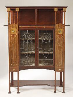 Art Nouveau mahogany and inlaid display cabinet
