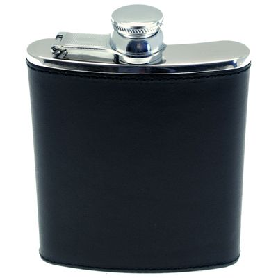 Ettinger London Luxury Leather Lifestyle Black 6oz Leather Bound Captive Top Hip Flask