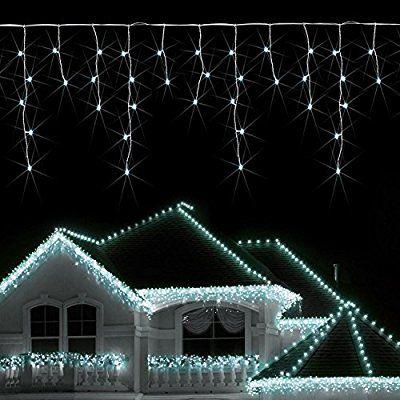 Blumfeldt Dreamhouse LED Lichterkette Außen Weihnachtsbeleuchtung Hausbeleuctung (8m, 160 LEDs, Eisregen-Design) kaltweiß