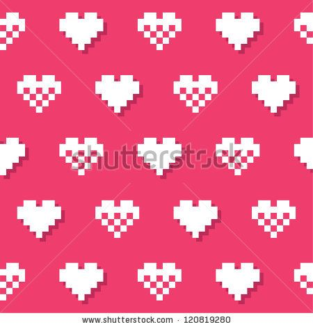 Geeky hearts Valentine's card or pattern by RedKoala #seamless #love #pink