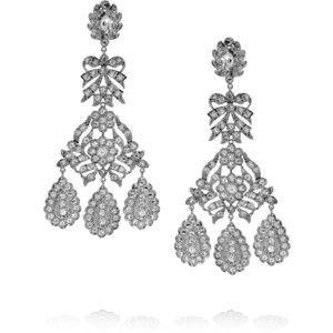 Kenneth Jay Lane Chandelier Pierced Earrings Crystal acB0JD