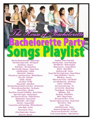 Bachlorette playlist. We'll have to add a few of @Mary Powers Becraft 's favorites like: Soul Provider and Margaritaville