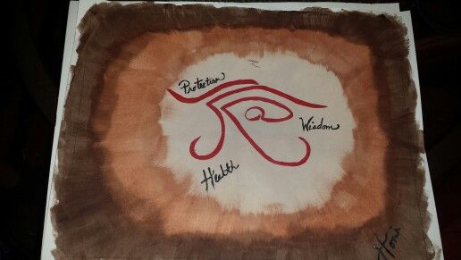 A painting of the Eye of Horus Egyptian symbol