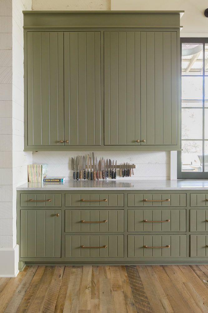 green kitchen cabinets + gold hardware + kitchen k…
