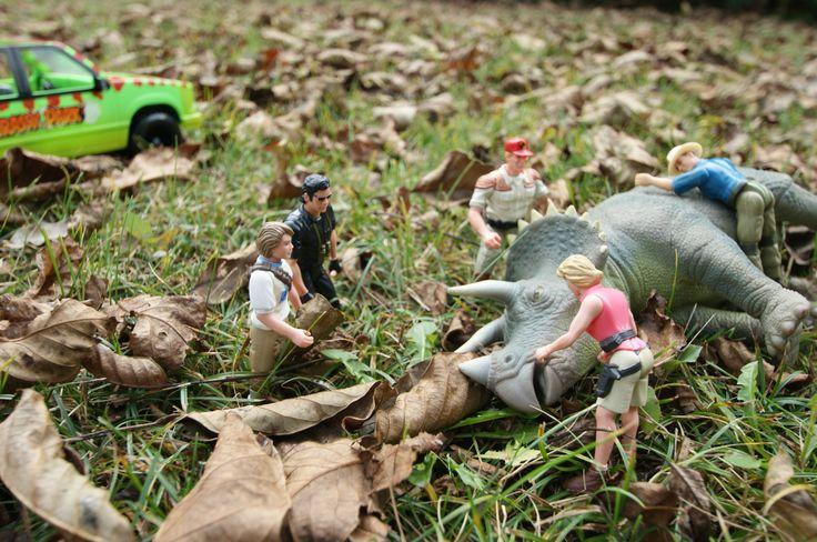 Scène du tricératops malade, 1er film de 1993