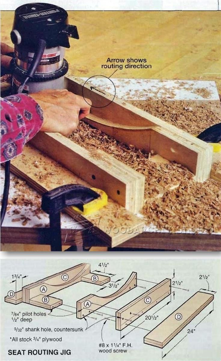 Seat scooping jig woodworking tips and techniques for Wood router ideas