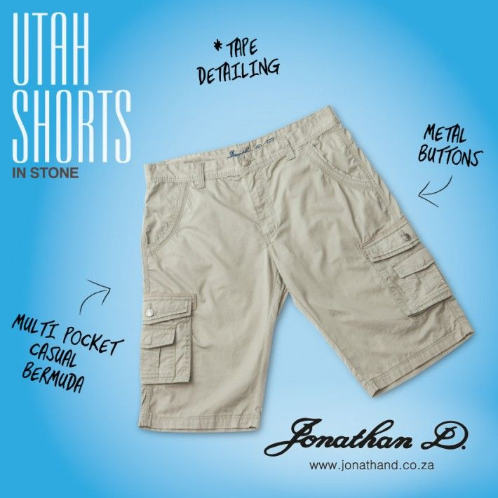 Get the utility look with Jonathan D's Utah Shorts. These cool-casual shorts feature multi pockets with branded metal buttons, tape detailing and all over double topstitching.