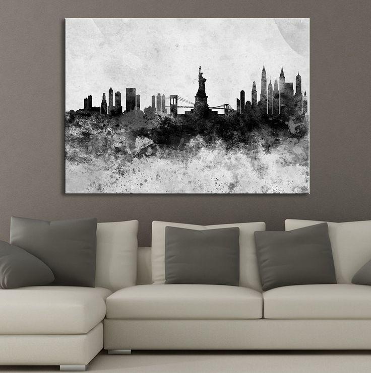 New York Nyc Skyline City Single Canvas Wall Art Picture: 17 Best Ideas About City Skyline Art On Pinterest