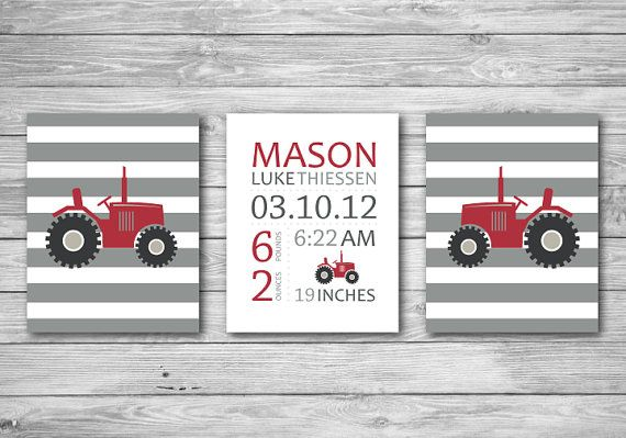 Baby Nursery Art Print  Tractor Stripes Baby Birth by CeceandCoco