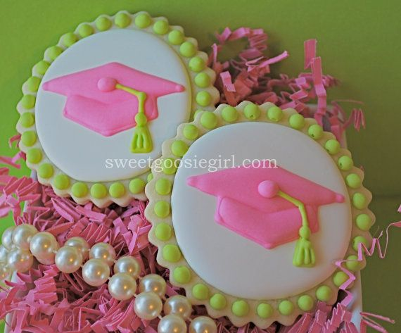 Lilly Pulitzer Inspired Pink & Green Graduation Cap Decorated Sugar Cookies via Etsy